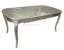 European style teak wood furniture hand carved silver dining table XYN689