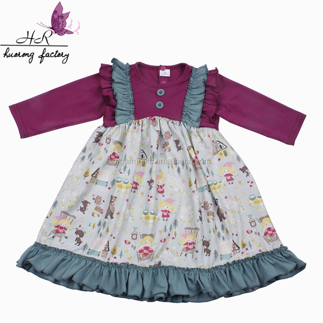 Wholesale baby wear clothes girls boutique christmas dress long sleeve children frocks designk designs dresses