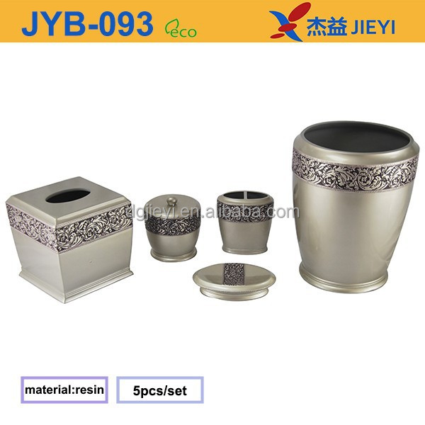 Fancy design silver resin bathroom accessories sets with for Bathroom accessories silver