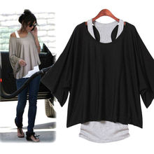 2012 New Fashion Leisure 2 Pcs Loose Short Sleeve Women's Vest Bat +T-Shirt Set 3208