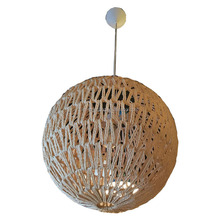 Large ball flax rope woven cage decorative pendant light hanging lamp with LED inside