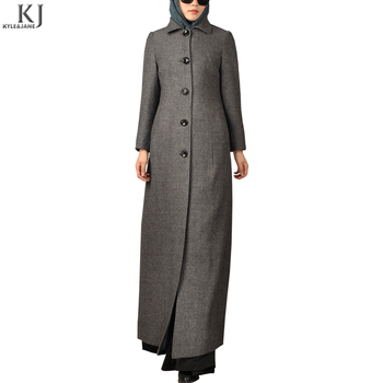 Best quality warm full length girls winter dress for muslim women long coat abaya with side pocket