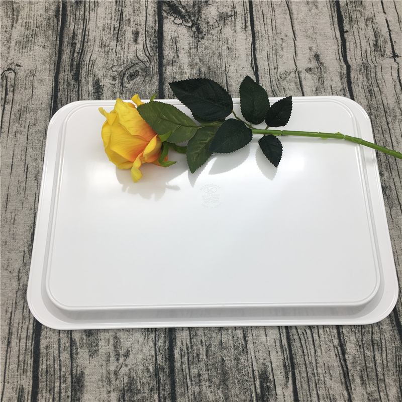 15.5 inch custom printed melamine plastic serving tray with handles