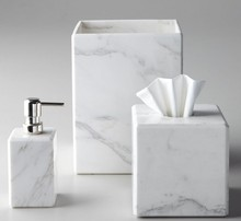 Luxury hotel bathroom accessories set vanity real marble laundry soap dispenser