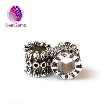 Antique Silver Pattern Carved Drum Spacer Beads Metal Beads