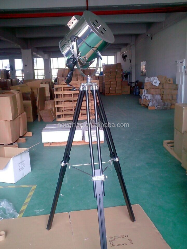Large Industrial Spotlight Tripod Wooden Floor Lamp