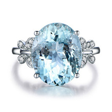 Europe and the United States fashion natural blue Topaz butterfly ring Platinum-plated zircon ring jewelry