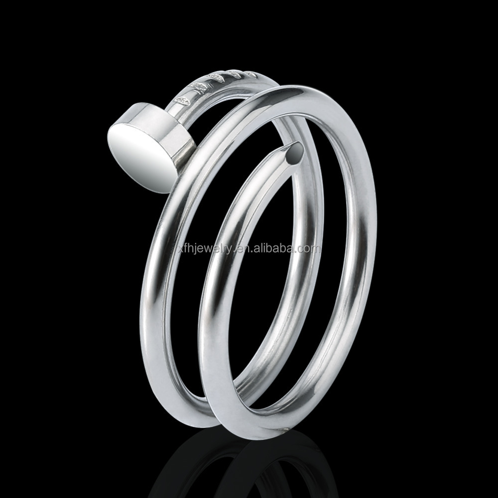 screw ring wholesale 316L Stainless Steel rings silver color jewelry