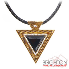 Antique Big Triangle Leather Rope Choker Statement Necklace