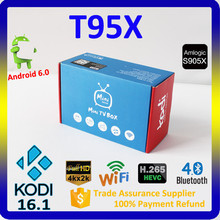4k Full HD Kodi Media Center T95X Google Android 6.0 Marshmallow Smart TV Box with Remote Control