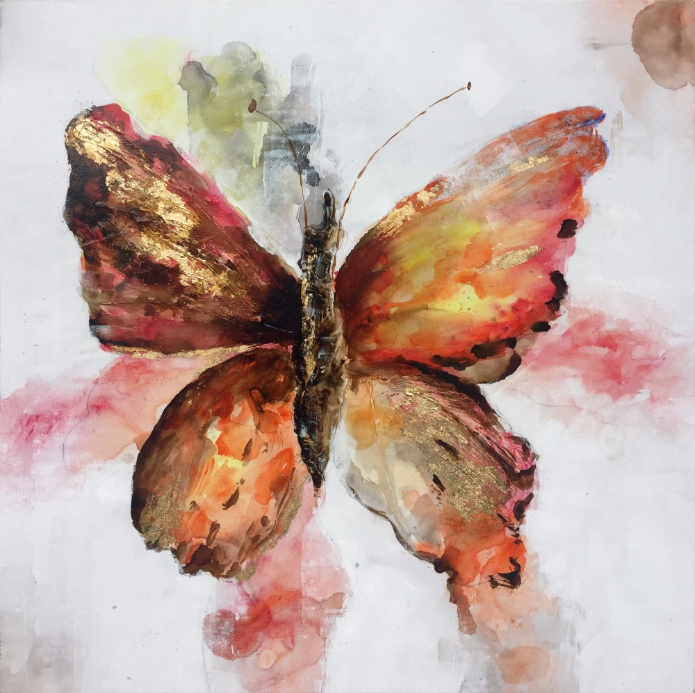 SH209 Newest Design Handmade Picture Butterfly Oil Painting On Canvas