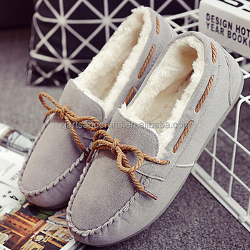 Wholesale manufacture winter warm flat loafer shoes women