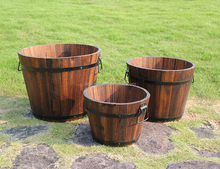 Outdoor Solid Cedar Wood Barrel Planter Set,Wood Flower Pots, wood barrel planter