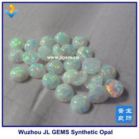 Synthetic Round Cabochon Loose Imitation White Fire Opal