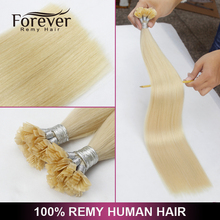 Factory Price Top Quality women fashion Beauty peruvian 100 human remy hair 1g stand flat tip hair