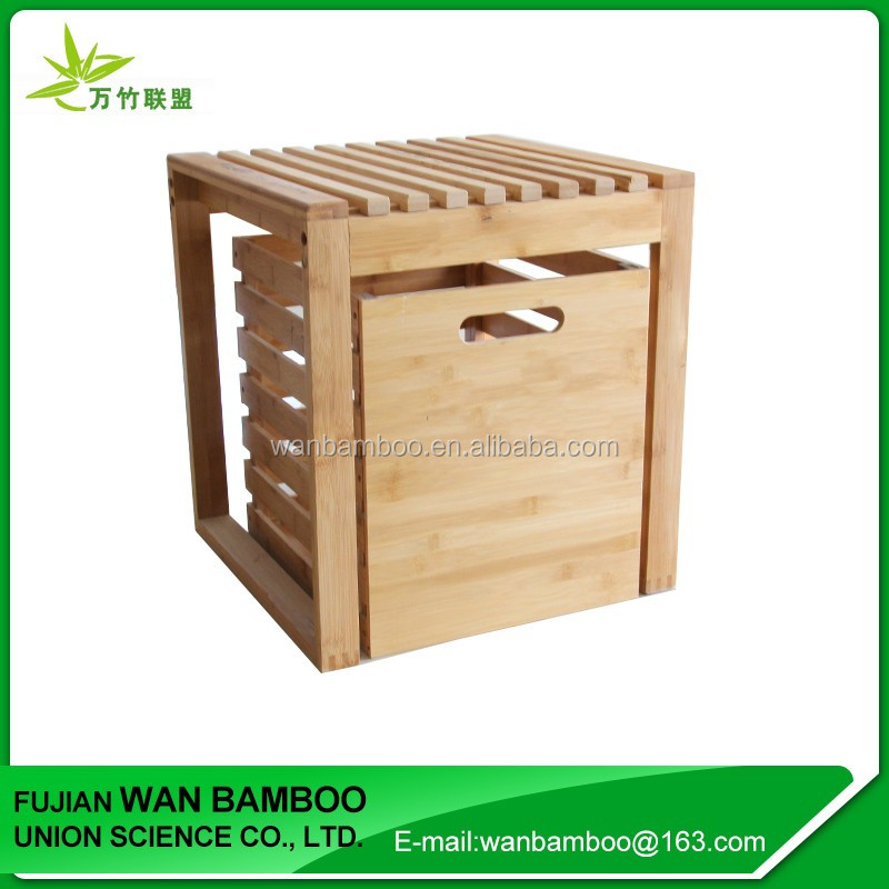 Custom Solid Bamboo Shoe Storage Bench with Bamboo Drawers