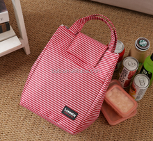 Fashion stripe 600D oxford fabric thermal tote lunch box for whole food cooler bag