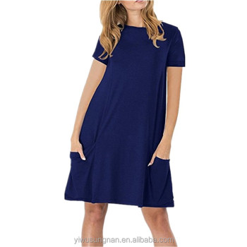 2018 hot sell summer round neck cotton customized simple swing tunic loose plain color dress for woman