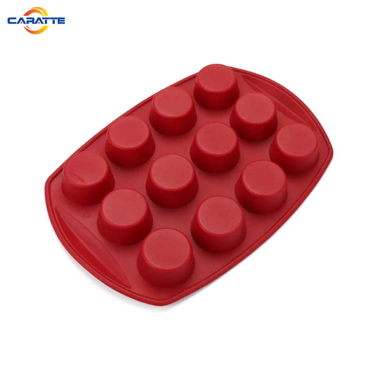 Hot sale 12 round cup non-stick silicone baking mold for cupcakes