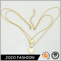 Women's best selling layer gold chain hammered plate pandent necklace