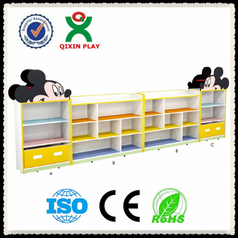 Amazing cartoon mickey design MDF wooden storage cabinet for kindergarten/kids storage cabinets/kids shelves for toys QX-B7401