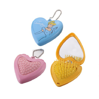 Cheap promotion gift custom logo cosmetic makeup mirrors heart shape folding small pocket mirror