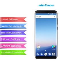 Ulefone Mix 2 5.7 inch HD+ 18:9 4G Smartphone MTK6737H Quad Core Android 7.0 2GB+16GB 3300mAh 13MP Camera China Mobile Phone