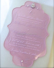"""Pretty Pink"" faceted acrylic invitation featuring a teardrop ab crystal with scattered"
