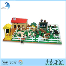 preschool EN71 printed toddler exercise wooden toy educational montessori toys Farm set with farm animals