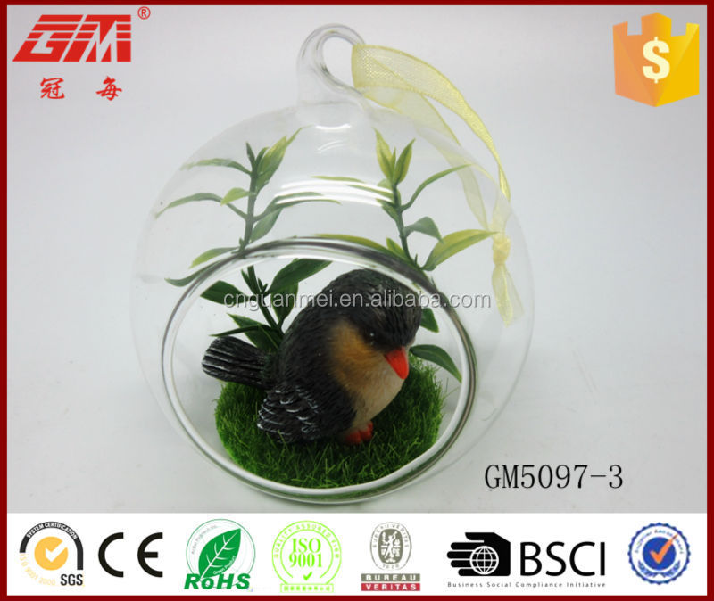 Hanging bird animal glass ball christmas decoration