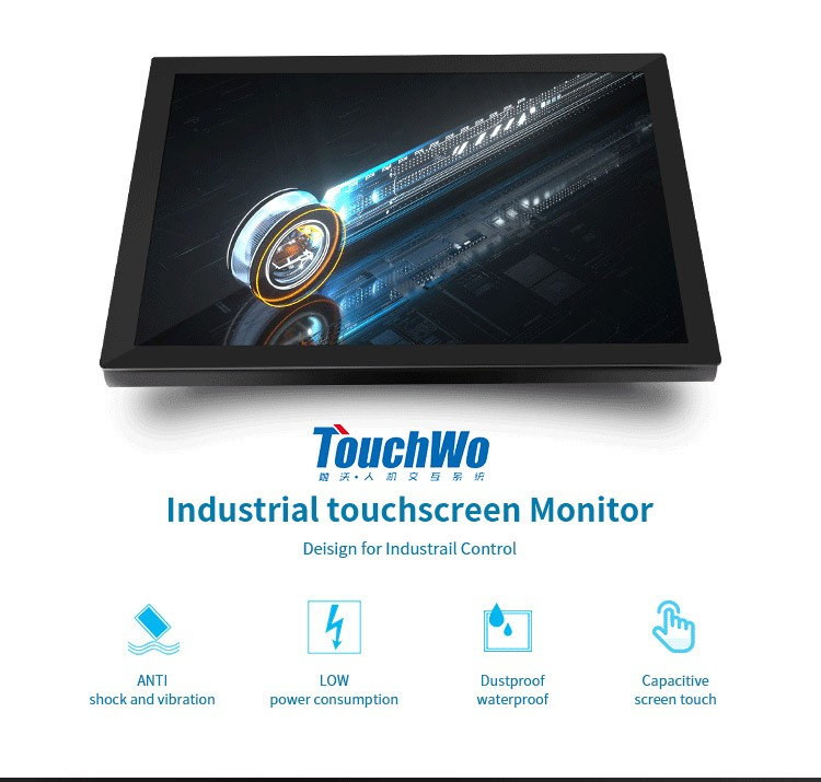High quality 19 inch industrial  front panel IP65 waterproof touch screen monitor for aio computer