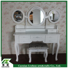 European Style Cheap Dressing Table with Mirror and 7 Storage Drawers