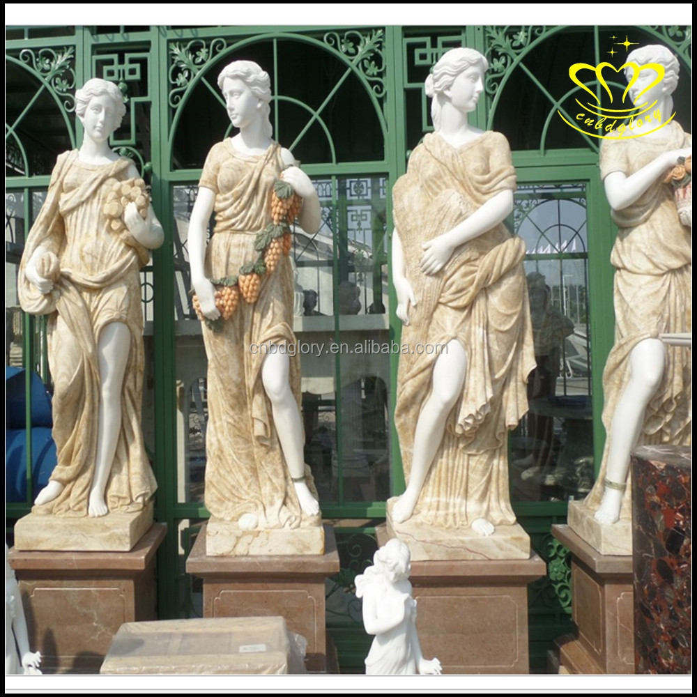 Western characters carved stone The goddess of the four seasons of white marble sculpture European character carve
