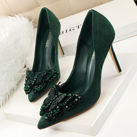 SAA4909 Bling rhinestone butterfly elegant pointy toe suede ladies high heels pumps shoes