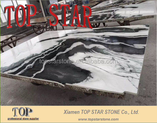 Black Wave White Marble Panda White for hotel project lobby wall floor