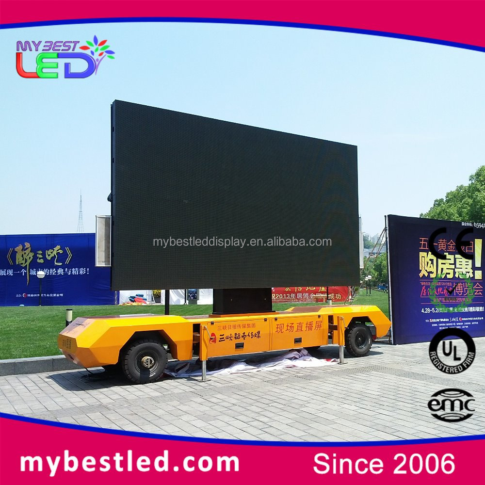 moving led screen p6 outdoor mobile led display trailer