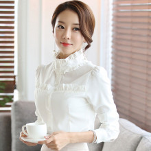 Chinese clothing manufacture women blouses 2017 high neck designs readymade white ruffle chiffon blouse