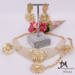 wholesale African women 18k gold plated jewelry wedding bridal jewelry set T0152