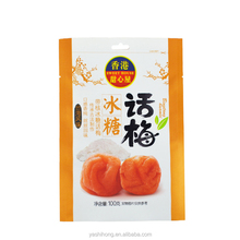 Gravure Printing Food Grade Snack Packaging Bag with Euro Slot and Tear Notch for Candied Plum