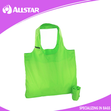 promotional210D reusable shopping tote grocery bag folding in a pouch