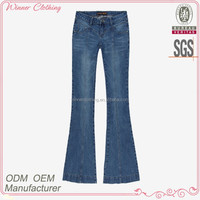 Woman clothing factory bell bottom denim jean,navy blue models jeans pant