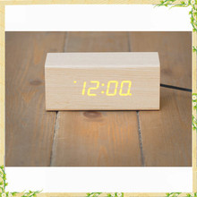 Natural wood material Rectangular shape led digital clock for elderly