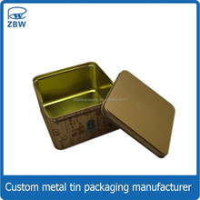 Food grade egg roll cookie packing tin box custom metal square egg roll tin box