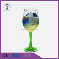 Colored Festival Celebrate hand printed Goblet wine glass