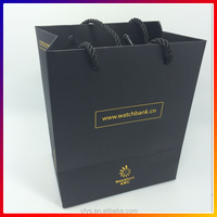 Custom printed Logo Luxury Coated Paper Jewelry Gift Bags with Nylon rope handle