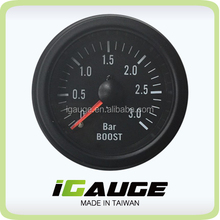 100% Made in Taiwan 52mm Black Rim Mechanical Boost Gauge (3 BAR)