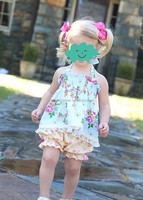 New Design Floral Print Braces Skirt Ruffle Short Pants Clothing Sets Baby Girls Dresses Sets