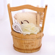 Wood bathroom bucket shower spa gift set with handle