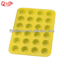 Kitchen Essentials Yellow Silicone 24-Cup Mini Muffin Pan, Microwave Safe