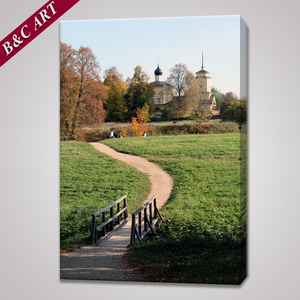 Village Landscape Paintings Frameless Canvas Prints for Living Room Wall Decor
